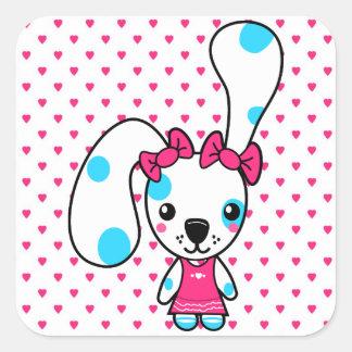 Conejo de conejito lindo del dibujo animado pegatinas cuadradas personalizadas