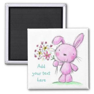 Conejo de conejito rosado lindo de la lila del ♥ imán cuadrado