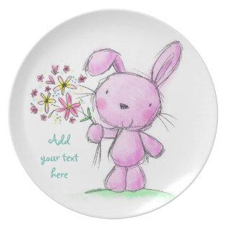 Conejo de conejito rosado lindo de la lila del ♥ plato de comida