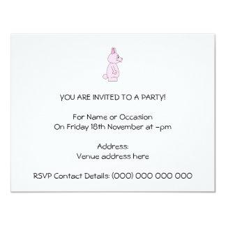 Conejo de conejito rosado lindo invitación 10,8 x 13,9 cm