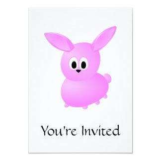 Conejo de conejito rosado lindo invitación 12,7 x 17,8 cm