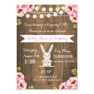 Conejo de conejito rústico del vintage invitación 12,7 x 17,8 cm