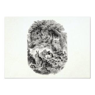 Conejo de conejitos de los 1800s de los conejos de invitación 12,7 x 17,8 cm