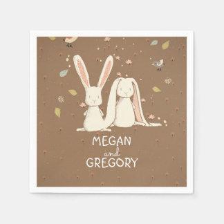 conejo de conejitos lindo servilletas desechables