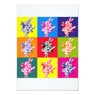 Conejo del blanco del arte pop invitación 12,7 x 17,8 cm