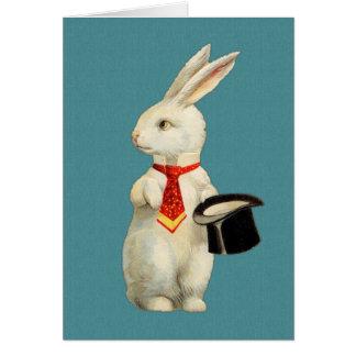Conejo del blanco del vintage tarjeta pequeña