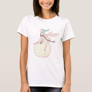 Conejo del invierno y bola de la nieve camiseta