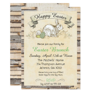 Conejo del Invitación-Vintage del brunch de Pascua Invitación 12,7 X 17,8 Cm