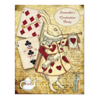 Conejo del país de las maravillas de la fiesta de invitación 10,8 x 13,9 cm