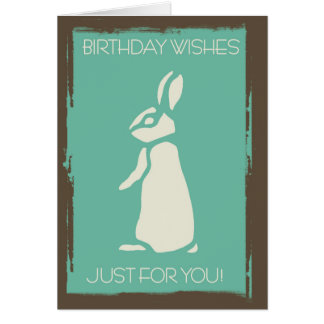 Conejo elegante moderno con los bordes del Grunge Tarjeta De Felicitación