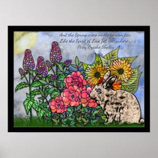 Conejo en medio de las flores de la primavera - póster