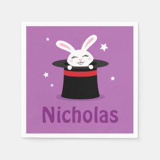 Conejo en nombre personalizado gorra de los magos servilleta de papel