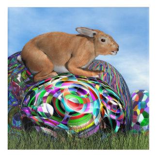 Conejo en su huevo colorido para Pascua - 3D Impresión Acrílica