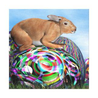 Conejo en su huevo colorido para Pascua - 3D Impresión En Lienzo