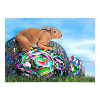 Conejo en su huevo colorido para Pascua - 3D Invitación 12,7 X 17,8 Cm