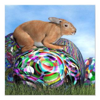 Conejo en su huevo colorido para Pascua - 3D Invitación 13,3 Cm X 13,3cm