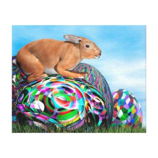 Conejo en su huevo colorido para Pascua - 3D Lienzo