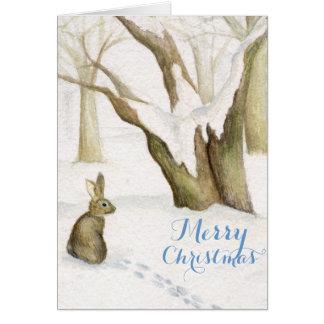 Conejo en tarjeta de Navidad de la acuarela de