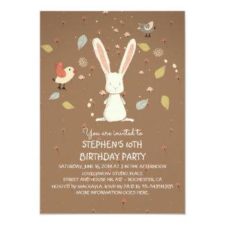 conejo - fiesta de cumpleaños del arbolado del invitación 12,7 x 17,8 cm