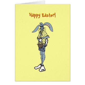 Conejo fresco de Pascua con las sombras Tarjeta De Felicitación