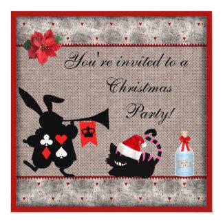 Conejo Herald del país de las maravillas y navidad Invitación Personalizada