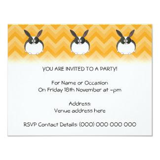 Conejo holandés blanco y negro invitación 10,8 x 13,9 cm