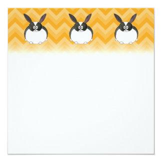 Conejo holandés blanco y negro invitación 13,3 cm x 13,3cm