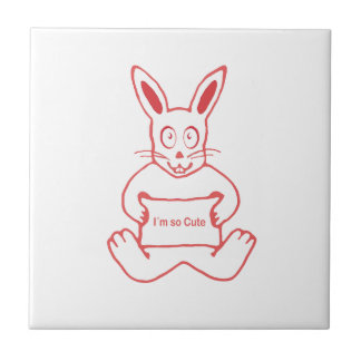 Conejo lindo con la bandera tan linda del texto de azulejo de cerámica