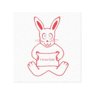 Conejo lindo con la bandera tan linda del texto de impresión en lienzo
