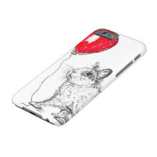 Conejo lindo con la caja roja del iPhone 6 del Funda Barely There iPhone 6