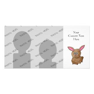 Conejo lindo divertido tarjetas con fotos personalizadas