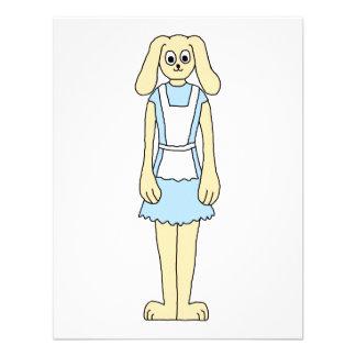 Conejo lindo en un vestido azul invitaciones personalizada