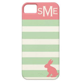 Conejo lindo, raya y monograma personalizado iPhone 5 carcasa