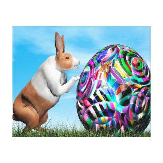 Conejo que empuja el huevo de Pascua - 3D rinden Impresión En Lienzo