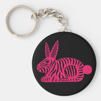Conejo rosado de la cebra llavero personalizado