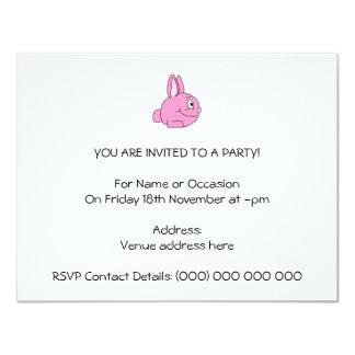 Conejo rosado invitación 10,8 x 13,9 cm