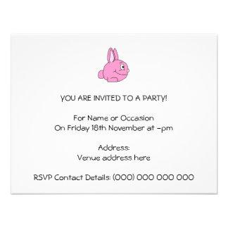 Conejo rosado invitaciones personales
