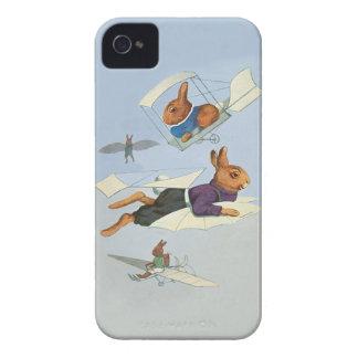 Conejos de conejito del vuelo - vintage divertido funda para iPhone 4 de Case-Mate