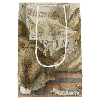 Conejos del navidad en la panadería bolsa de regalo mediana