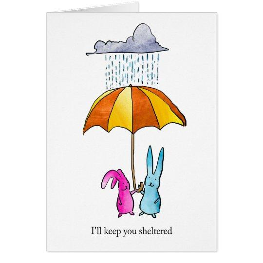 Conejos en tarjeta del amor