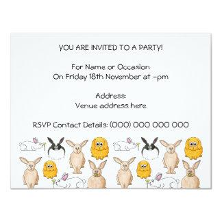 Conejos Invitación 10,8 X 13,9 Cm