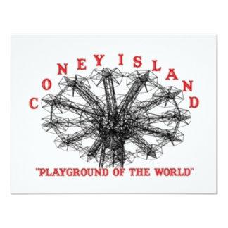 Coney Island Nueva York - patio del mundo Invitación 10,8 X 13,9 Cm