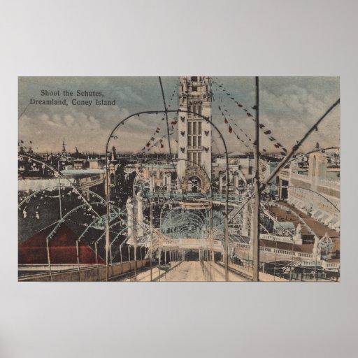 Coney Island, NY - tire el paseo de Schutes Posters
