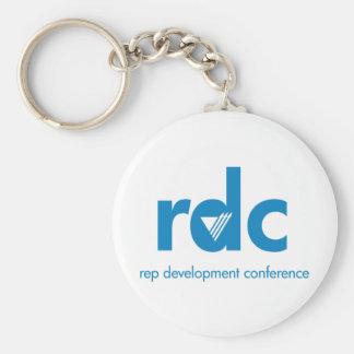 Conferencia del desarrollo del representante llavero redondo tipo chapa
