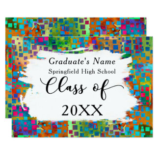 Confeti colorido, invitación del graduado de las
