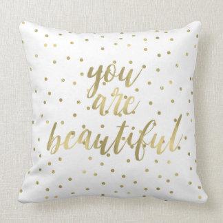 Confeti de la chispa del oro usted es hermoso cojín decorativo