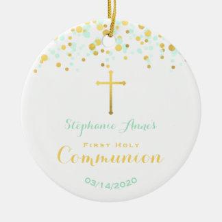 Confeti de la menta y del oro de la comunión adorno navideño redondo de cerámica