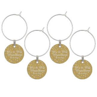 Confeti de oro personalizado de los corazones identificador de copa