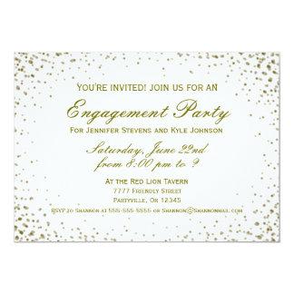 Confeti del oro del fiesta de compromiso el | invitación 12,7 x 17,8 cm