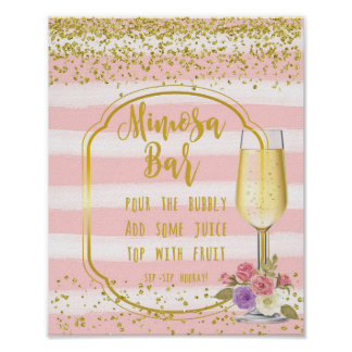 Confeti del oro del rosa de la muestra del boda de póster